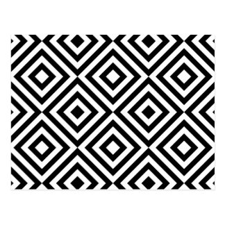 Abstract geometrical squares pattern, black white postcard