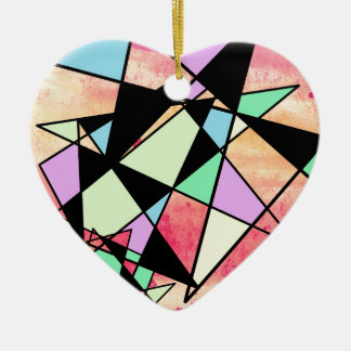 ABSTRACT GEOMETRY CERAMIC HEART DECORATION