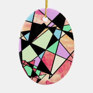 ABSTRACT GEOMETRY CERAMIC OVAL DECORATION