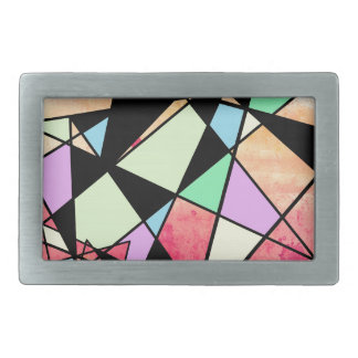 ABSTRACT GEOMETRY RECTANGULAR BELT BUCKLE