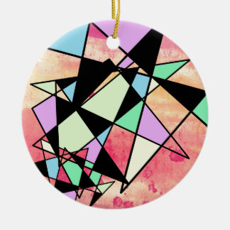 ABSTRACT GEOMETRY ROUND CERAMIC DECORATION
