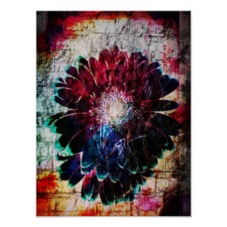Abstract Gerbera Daisy Poster
