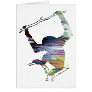 Abstract Gibbon silhouette Card
