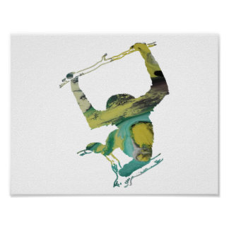 Abstract Gibbon silhouette Poster