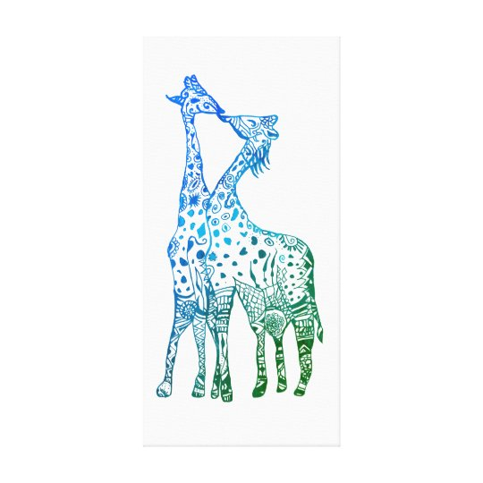 Abstract Giraffes Drawing Kiss Canvas Print