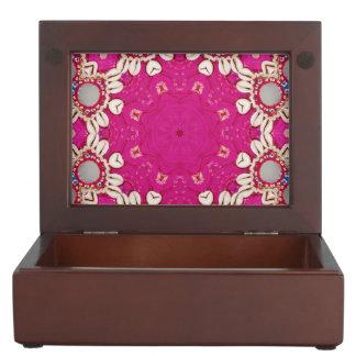 abstract girly Ethnic seashells bohemian fuchsia Keepsake Boxes