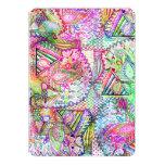 Abstract Girly Neon Rainbow Paisley Sketch Pattern 13 Cm X 18 Cm Invitation Card