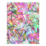Abstract Girly Neon Rainbow Paisley Sketch Pattern 21.5 Cm X 28 Cm Flyer