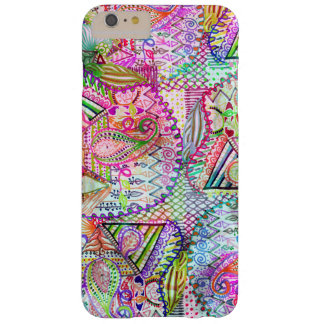 Abstract Girly Neon Rainbow Paisley Sketch Pattern Barely There iPhone 6 Plus Case