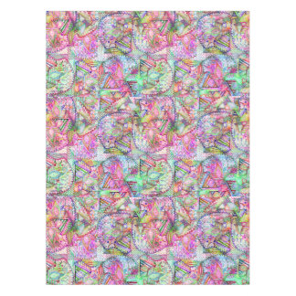 Abstract Girly Neon Rainbow Paisley Sketch Pattern Tablecloth