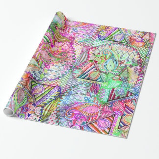 Abstract Girly Neon Rainbow Paisley Sketch Pattern Wrapping Paper