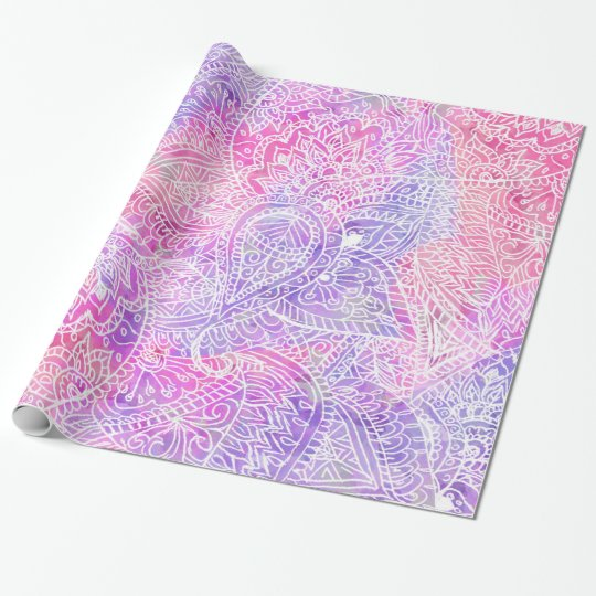 Abstract Girly Purple Pink Paisley Sketch Pattern Wrapping