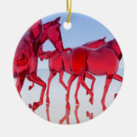 Abstract Glass Horses Christmas Tree Ornament
