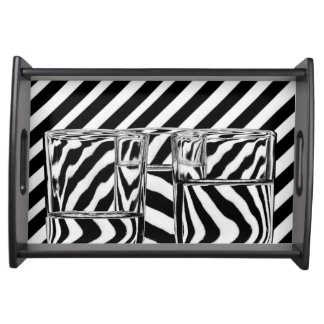Abstract Glasses Black and White Stripes Tray