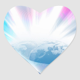 Abstract Glowing Earth Illustration Heart Sticker