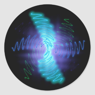 Abstract Glowing Music Waves - Sticker