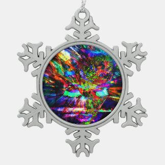 Abstract Goddess Snowflake Pewter Christmas Ornament