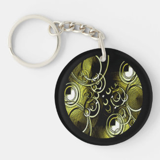 Abstract Gold and Black Circles Single-Sided Round Acrylic Key Ring