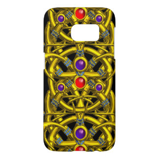ABSTRACT GOLD CELTIC KNOTS WITH COLORFUL GEMSTONES