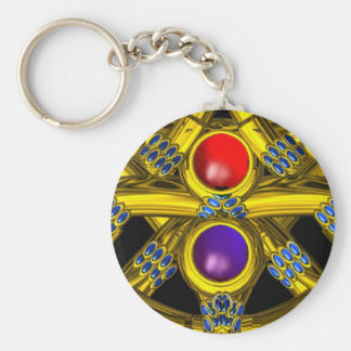 ABSTRACT GOLD CELTIC KNOTS WITH COLORFUL GEMSTONES KEY CHAIN