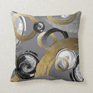 Abstract Gold Color Ring Black White Swirl Circles Cushion