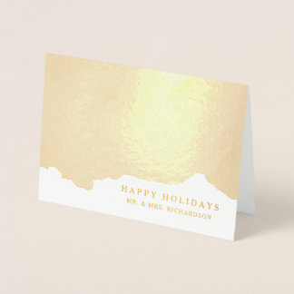 Abstract Gold | Elegant Happy Holidays Foil Card