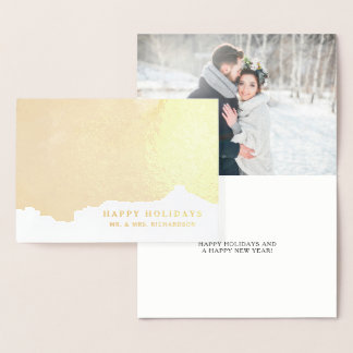 Abstract Gold | Elegant Happy Holidays with Photo Foil Card
