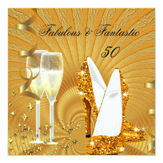 Abstract Gold Fabulous 50 Fantastic Birthday Party 5.25x5.25 Square Paper Invitation Card