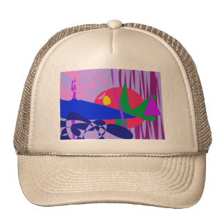Abstract Gold Fish in the Aquarium Mesh Hats