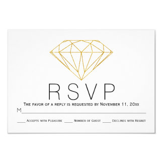 Abstract gold glitter diamond wedding RSVP card