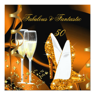Abstract Gold Orange Fabulous 50 Fantastic  Party 5.25x5.25 Square Paper Invitation Card