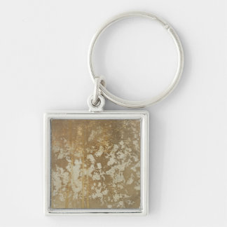 Abstract Gold Painting with Silver Speckles Key Chains