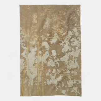 Abstract Gold Painting with Silver Speckles Tea Towel