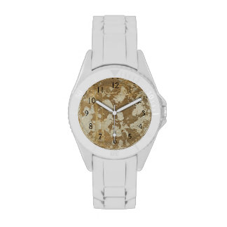 Abstract Gold Painting with Silver Speckles Wrist Watches