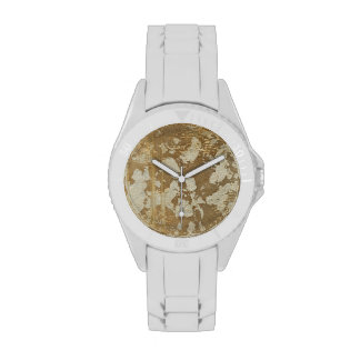 Abstract Gold Painting with Silver Speckles Wristwatches