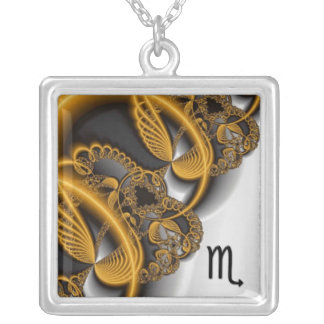 Abstract Gold Swirl Scorpio Zodiac Necklace