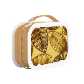 Abstract Golden Brown Textured Leaf Lunch Box