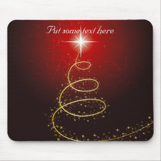 Abstract Golden Christmas Tree on Glowing Red Mouse Pad