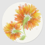 Abstract Golden Flowers Classic Round Sticker
