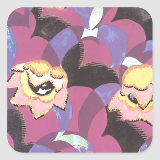 Abstract Golden Flowers on Purple Square Sticker