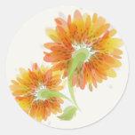 Abstract Golden Flowers Round Sticker