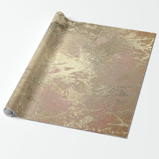 Abstract Golden Foil Metallic Stroke Rose Gold Wrapping