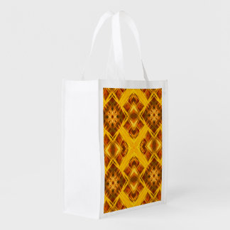abstract golden geometric mandala pattern reusable grocery bag