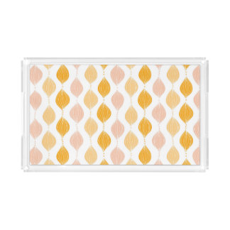 Abstract golden ogee pattern background acrylic tray