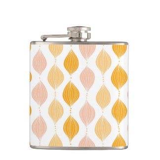 Abstract golden ogee pattern background hip flask