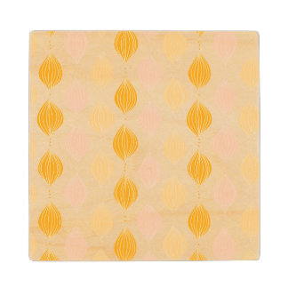 Abstract golden ogee pattern background wood coaster