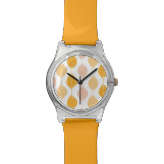 Abstract golden ogee pattern background wristwatch