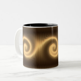 abstract golden spiral texture Two-Tone coffee mug