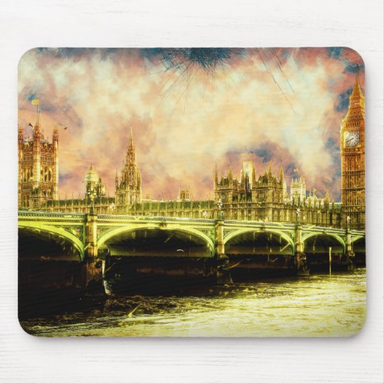 Abstract Golden Westminster Bridge in London Mouse Mat