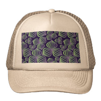 Abstract gradient purple green floral pattern. cap